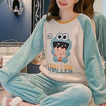 Autumn Winter Warm Flannel Women Pyjamas Sets