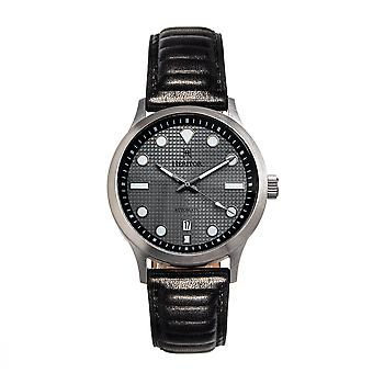 Heritor Automatic Bradford Leather-Band Watch w/Date - Gray & Black