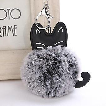 Cute Cat Pattern Women Car Bag Plush Keychain