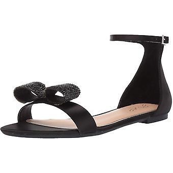 Jewel Badgley Mischka Women's UNA Sandal, Black Satin, 8 M US
