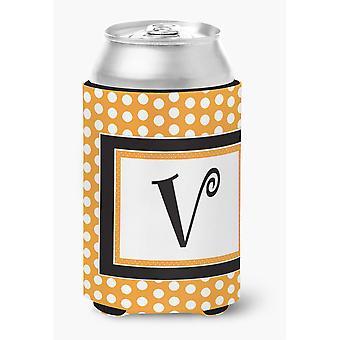 Ersten Buchstaben V Monogramm - Orange Polkadots Dose oder Flasche Getränk Isolator Hugger