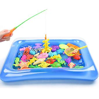 47 Parts/kit Magnetic Fishing, Child Model Outdoor Fishing Game Plastic Fish