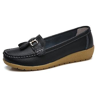 Breathable Genuine Flats Woman Loafer