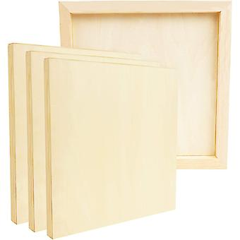 Belle Vous Unfinished Wooden Canvas Painting Boards (4 Pack) - 30 x 30cm / 12 x 12 Inches - Natural