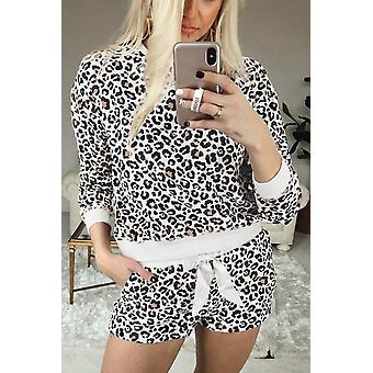 Leopard Long Sleeve Shorts Pajamas Set