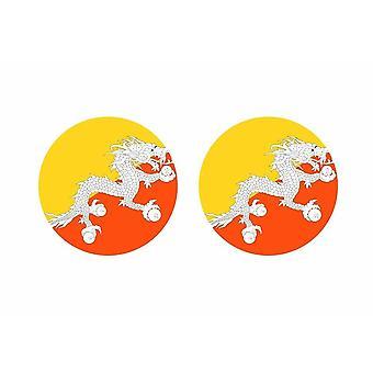 2x pinne pinne klistermärke rund cocarde Bhutan flagga