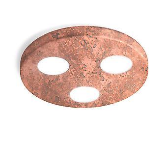 Luz de techo montada en superficie - Acabado de cobre vintage, 3x GX53