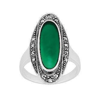 Стерлингового серебра 1,60 ct зеленый халцедон & марказит кольцо арт деко