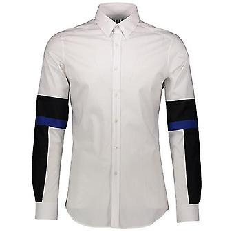 Les Hommes White- Black- Cobalt Shirt - LE1395180