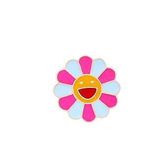 regnbue blomst emalje pinner smilende solsikke brosjer merker, kvinner