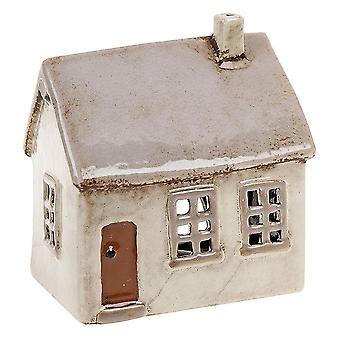 Joe Davies Village Pottery Vaaleanharmaa talo Keraaminen teevalo kynttiläteline