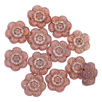 Czech Glass Beads, Wild Rose Flower 14mm, Pink Opaline, Platinum Wash, 1 Str, by Raven's Journey