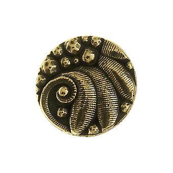 TierraCast Zinnknopf, rundes tschechisches Design, 12mm Durchmesser, 1 Stück, Messingoxid
