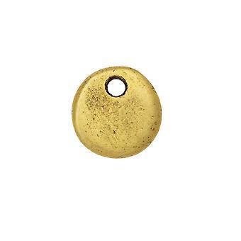 Nunn Design Flat Tag Pendant, Circle 10.5mm, 1 Piece, Antiqued Gold