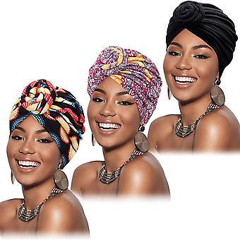 FengChun 3 Stck Afrikanischer Turban fr Frauen Vorgebundene Blume Knoten Headwrap Bonnet Kappe