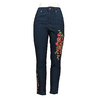 Martha Stewart Women's Jeans Emboidered Ankle Blue A309514