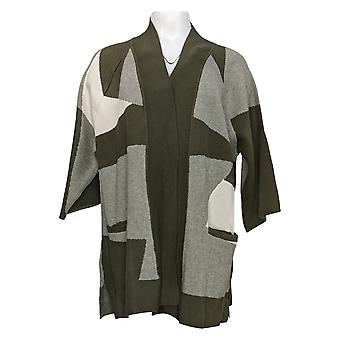 H by Halston Women's Sweater Patchwork Jacquard Cardigan Green A311495