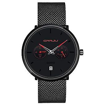 SUPBRO Ultra thin men's watches with minimalist black quartz with black mesh strap(9)