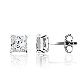 Eye Candy - Women's earrings, sterling 925 rhodium silver earrings with white zircons, square 6 mm ECJ er0005
