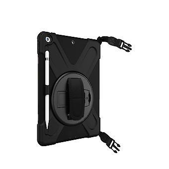 Protective case iPad case 2019 10.2 Shock-proof Crutch handle Black