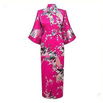 ロングスタイル、ゆるい日本サタン、ピーコック浴衣、スリープウェアナイトガウン