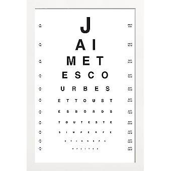JUNIQE Print - Eye Chart Je t&aime - Plakat typograficzny i symboli w czerni i bieli