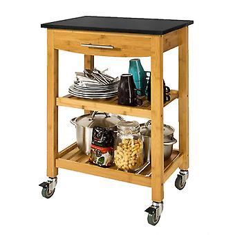 SoBuy Kitchen Storage Trolley Cart with Black Granite Top, FKW28-SCH