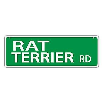 """Уличный знак, пластик, Рэт терьер Роуд, 17"""" X 6"""""""