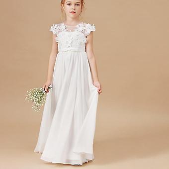 Vestidos de flores Applique Vestidos de Concurso Infantil Sem Mangas
