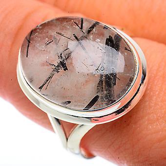 Tourmalinated Quartz Ring Size 11 (925 Sterling Silver)  - Handmade Boho Vintage Jewelry RING66458
