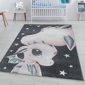 Tappeto per bambini DIVERTENTE tappeto a mucchio corto dragone baby dinosauro design
