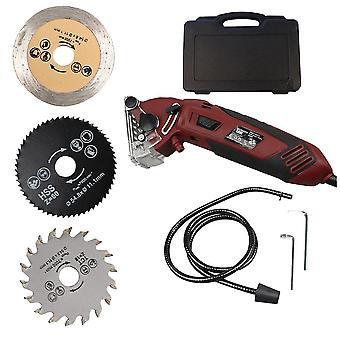 1セット多機能ミニは実用的な金属切断機の電力チェーンソーシャープナー木工具(3pcsの鋸の刃と220vプラグソー)