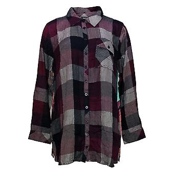 Tolani Collection Women's Petite Top PL Plaid Tunic Print Back Red A383446