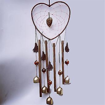 Tuulikellot, sydämenmuotoiset tuulikellot ulkona, alumiiniputkien muistotuulikello omalle