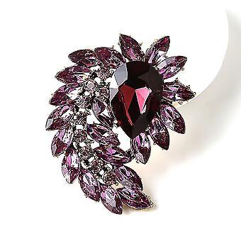 Elegant Women Brooch Flower Corsage Diamond Glass Brooch Pin