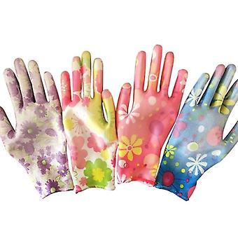 Flower Print Breathable Gardening Gloves