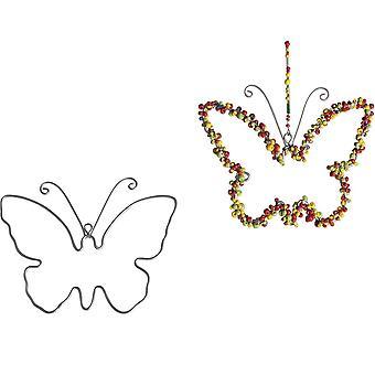 2 opknoping metalen draad vlinders te versieren - 12cm