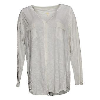 Belle by Kim Gravel Women's Top Slub Knit Button-Front White A392587