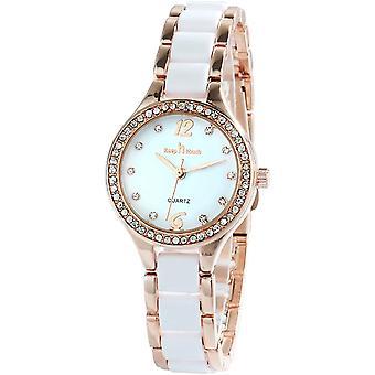 سيدات سيدات السيراميك الساعات أزياء فاخرة كوارتز 3ATM المقاوم للماء الفولاذ المقاوم للصدأ ساعة اليد (الذهب)