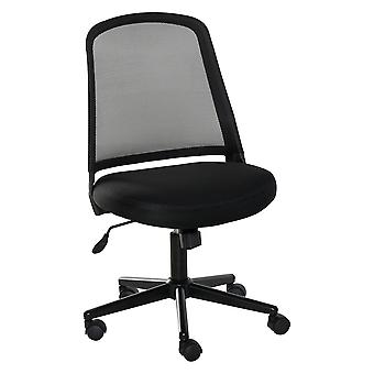Vinsetto Swivel Mid Back Office Chair Mesh Fabric Computer Home Study Bedroom Conference Armless Leisure Chair with Wheels, Black