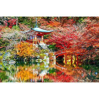 Mural de papel de parede Templo Daigoji no Outono
