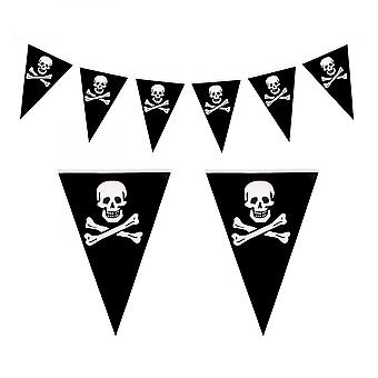 Halloween Pirate Skull Crossbones Bunting Triangle Banner, 16.4 Feet Jolly Roger Pennant For Halloween Theme Party Pirate Party And Outdoor Decoration