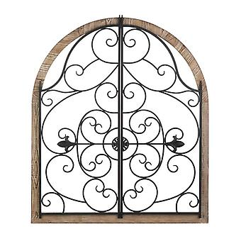 Accent Plus Arched Wood and Iron Swirls Wall Decor, Pack of 1