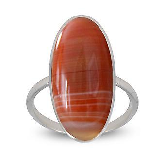ADEN 925 Sterling Zilver oranje Agate Oval Shape Ring (id 4053)