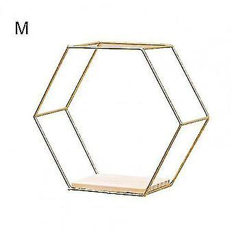 Wall shelves ledges nordic style floating hexagonal wall shelves golden m