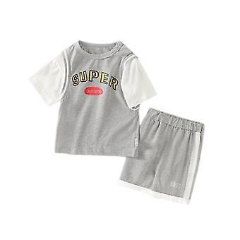 Shorts de manga curta para roupas de saída de bebê de duas peças