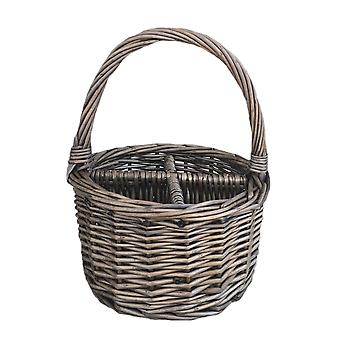 Antique Wash Round 4 Section Cutlery Wicker Basket