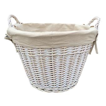 White Wash Cotton Lined Log Basket