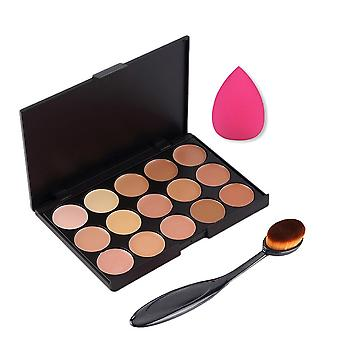 Boolavard 3PCS/set Professional 15 Colors Concealer Palette Make Up Cream Primer + oval blending brush + makeup flawless