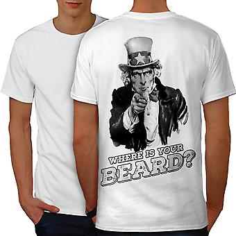 Beard Funy Uncle Sam Men WhiteT-shirt Back | Wellcoda